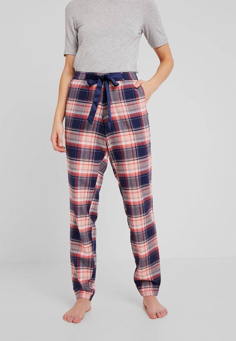 Hunkemöller - PANT TWILL CHECK CUFF - Pyjamahousut/-shortsit - peacot