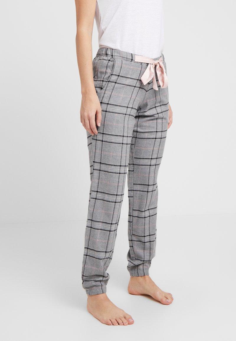 Hunkemöller - PANT CHECK - Pyjamasbukse - silver grey