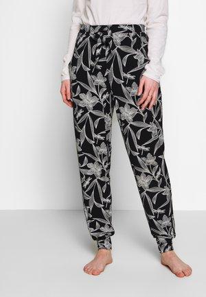 PANT LEAF - Pyjamasbukse - black