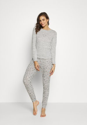 BRUSHED HEART SET - Pyjama - warm grey melee