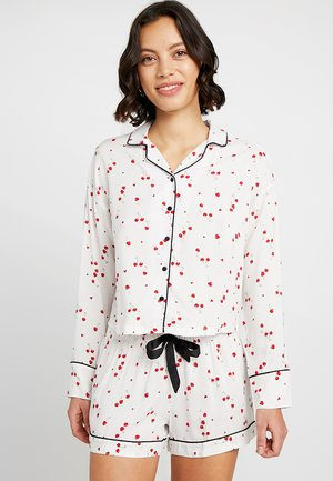 JACKET WOVEN PIPING CHERRY - Pyjama top - off white