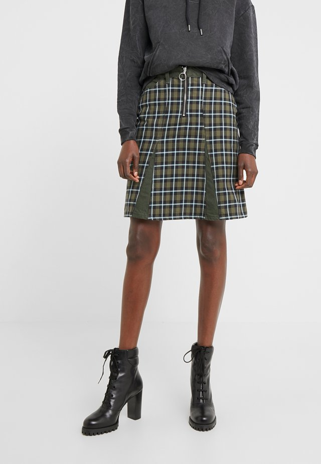BRIDGET SKIRT ARMY CHECK - A-line skirt - khaki