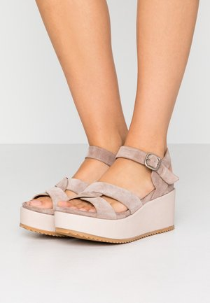 DUO - High heeled sandals - grey/rose