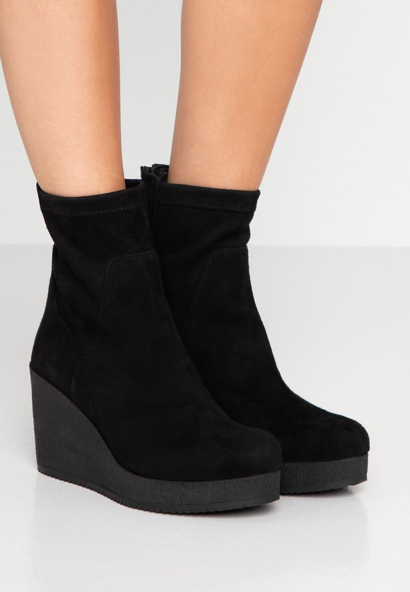 Homers - MICRO - Wedge Ankle Boots - black
