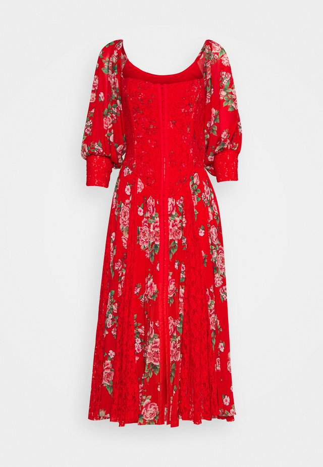 MAIDEN MEMPHIS DRESS - Cocktailjurk - shabby floral blood orange