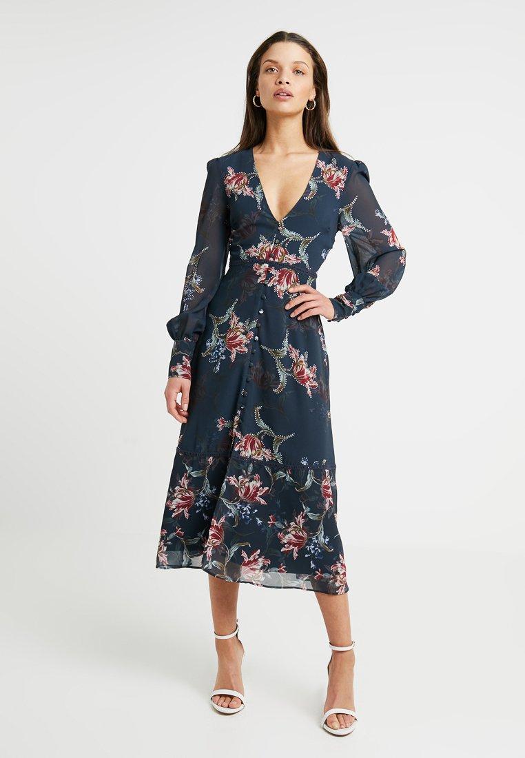 Hope & Ivy Petite - BUTTON FRONT LONG SLEEVE MIDI DRESS - Shirt dress - black