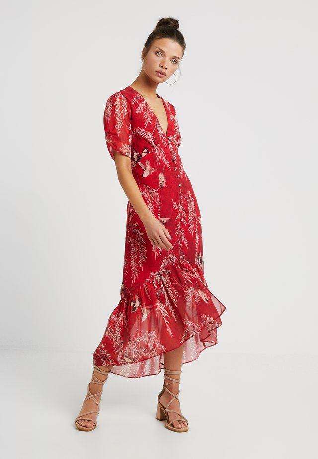 BUTTON FRONT DROP HEM MIDI DRESS - Day dress - red