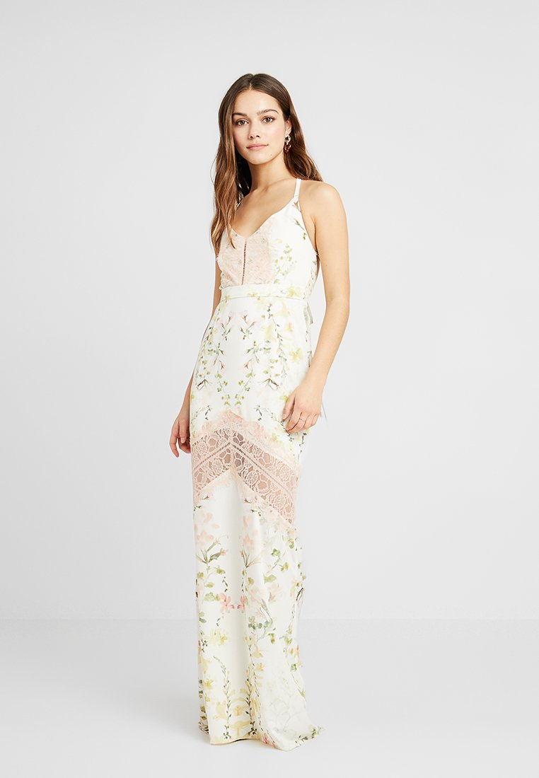 Hope & Ivy Petite - FLORAL FISH TAIL WITH CROCHET TRIM - Maxi šaty - offwhite