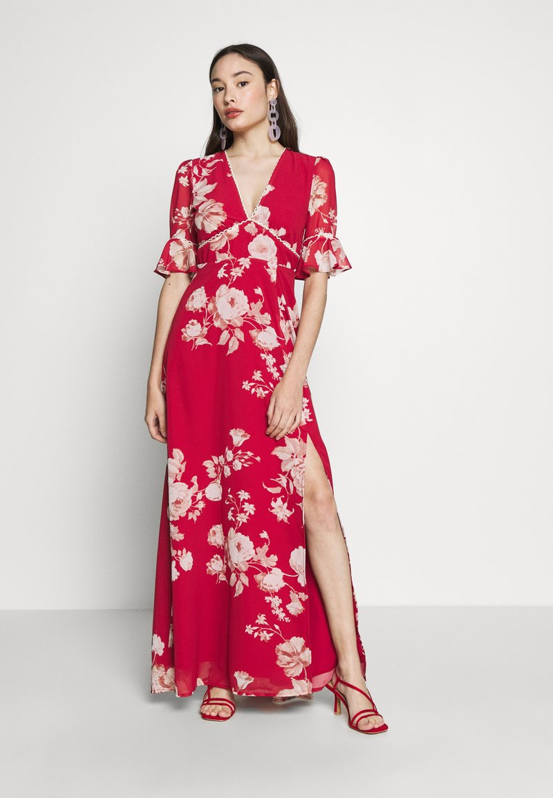 Hope & Ivy Petite - FLUTED SLEEVE OPEN BACK MAXI - Vestido largo - red