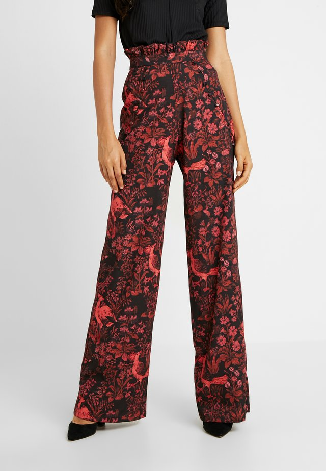 TROUSERS RED PRINT - Trousers - black/red