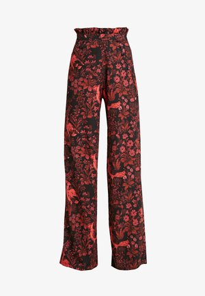 TROUSERS RED PRINT - Kalhoty - black/red