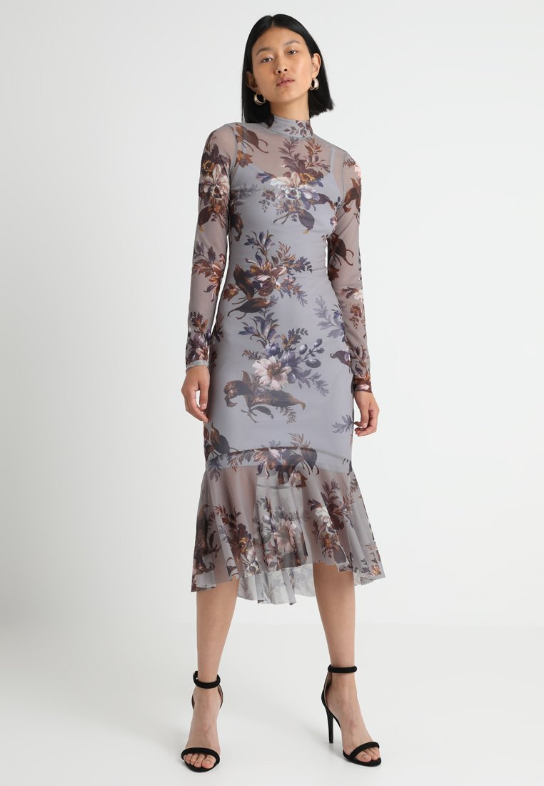 Hope & Ivy Tall - PRINTED WITH PEPLUM EXCLUSIVE - Maxi-jurk - grey