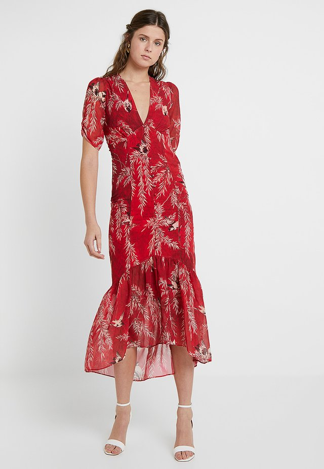 BUTTON FRONT MIDI WITH RUCHED SLEEVE - Maksimekko - red