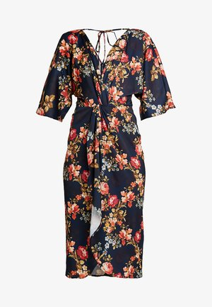 TIE KNOT FRON MIDI WITH KIMONO SLEEVES - Cocktailkjole - navy