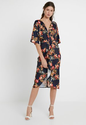 TIE KNOT FRON MIDI WITH KIMONO SLEEVES - Robe de soirée - navy