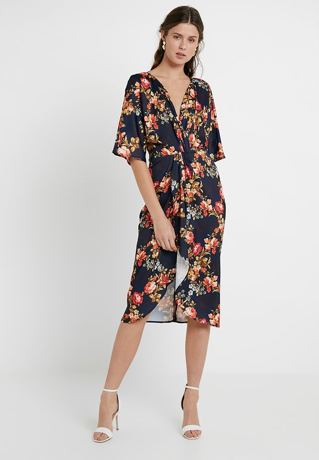 TIE KNOT FRON MIDI WITH KIMONO SLEEVES - Cocktailkleid/festliches Kleid - navy