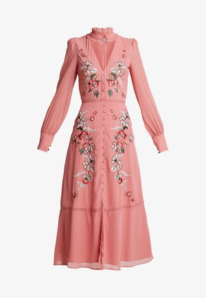 EMBROIDERED LONG SLEEVE WITH FRILL COLLAR - Vestido de fiesta - blush