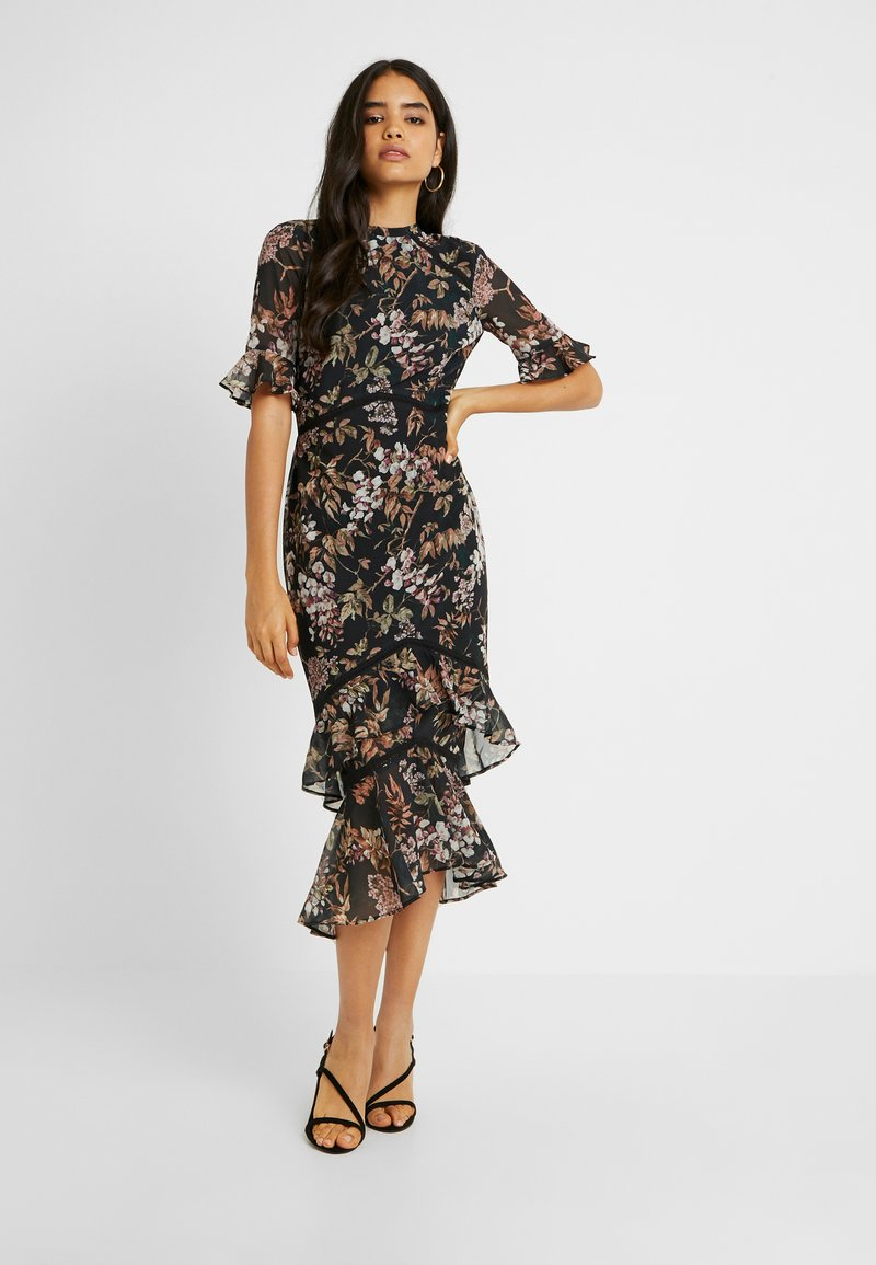 Hope & Ivy Tall - DOUBLE DROP MIDI DRESS WITH OPEN BACK - Cocktailkjole - black
