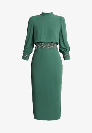 EMBELLISHED WAIST AND CUFF MIDI DRESS - Robe de soirée - green