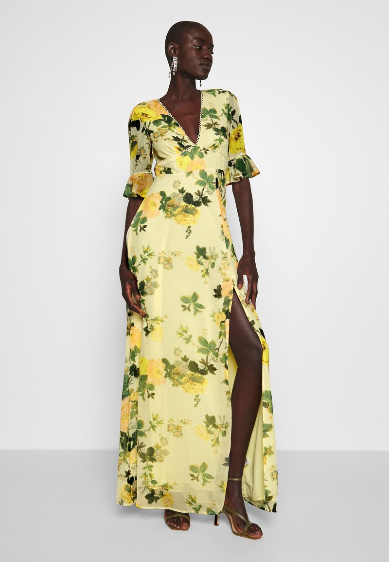 Hope & Ivy Tall - FLUTED SLEEVE OPEN BACK MAXI - Robe longue - yellow