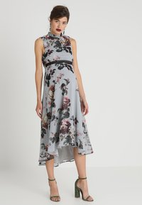 Hope & Ivy Maternity - HIGH NECK SKATER WITH TRIM - Maxi dress - grey - 0