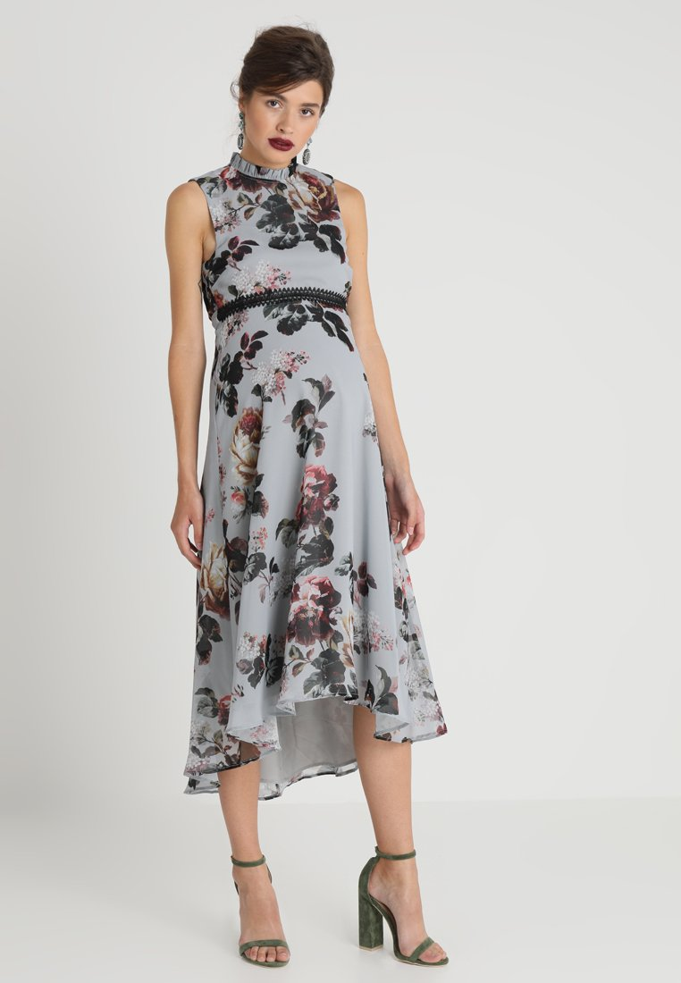 Hope & Ivy Maternity - HIGH NECK SKATER WITH TRIM - Maxi dress - grey