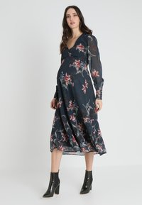 Hope & Ivy Maternity - PLUNGE BUTTON DOWN LONG SLEEVE MIDI - Maxi dress - navy - 0