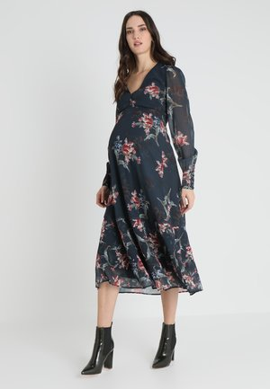 PLUNGE BUTTON DOWN LONG SLEEVE MIDI - Maxi dress - navy