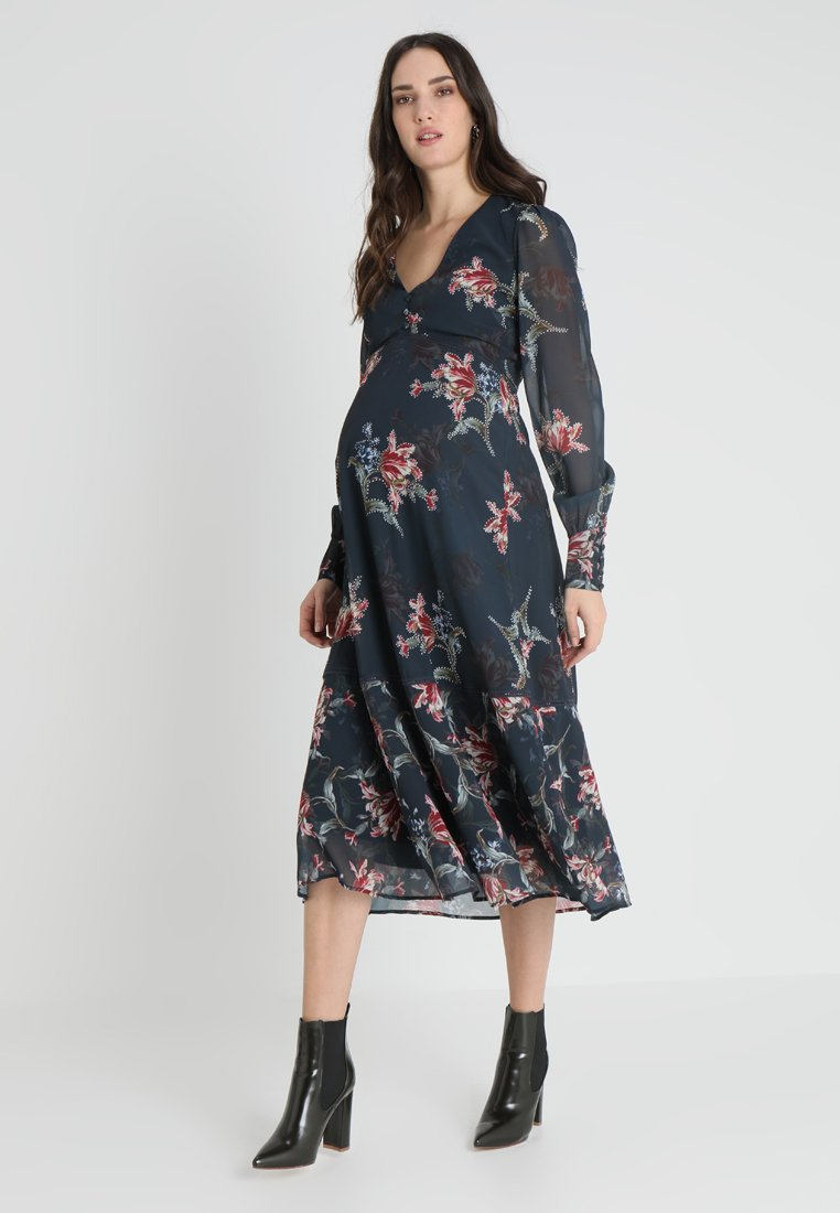 Hope & Ivy Maternity - PLUNGE BUTTON DOWN LONG SLEEVE MIDI - Maxi dress - navy