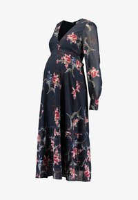 Hope & Ivy Maternity - PLUNGE BUTTON DOWN LONG SLEEVE MIDI - Maxi dress - navy - 4