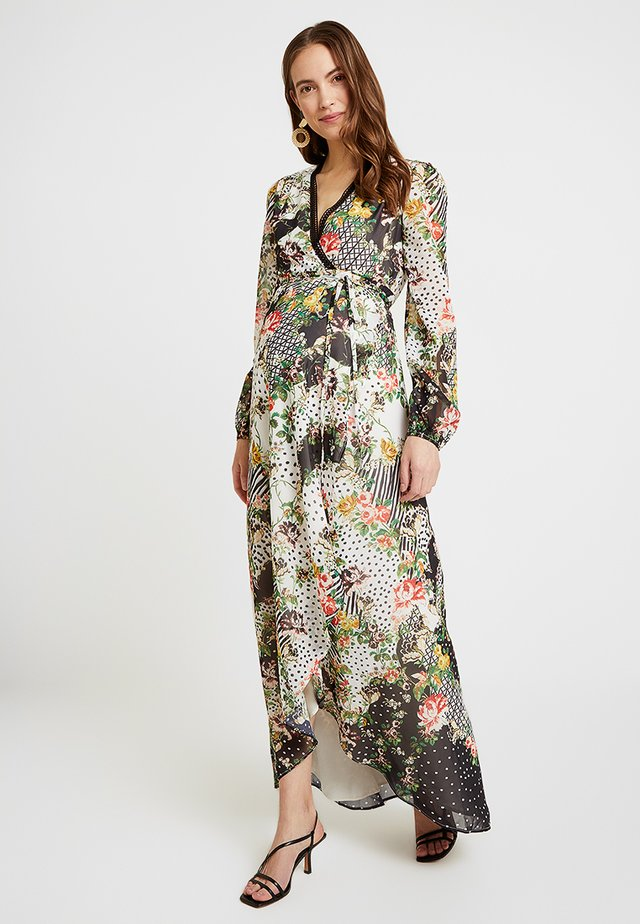 FLORAL AND SPOT WRAP DRESS - Kjole - black/white
