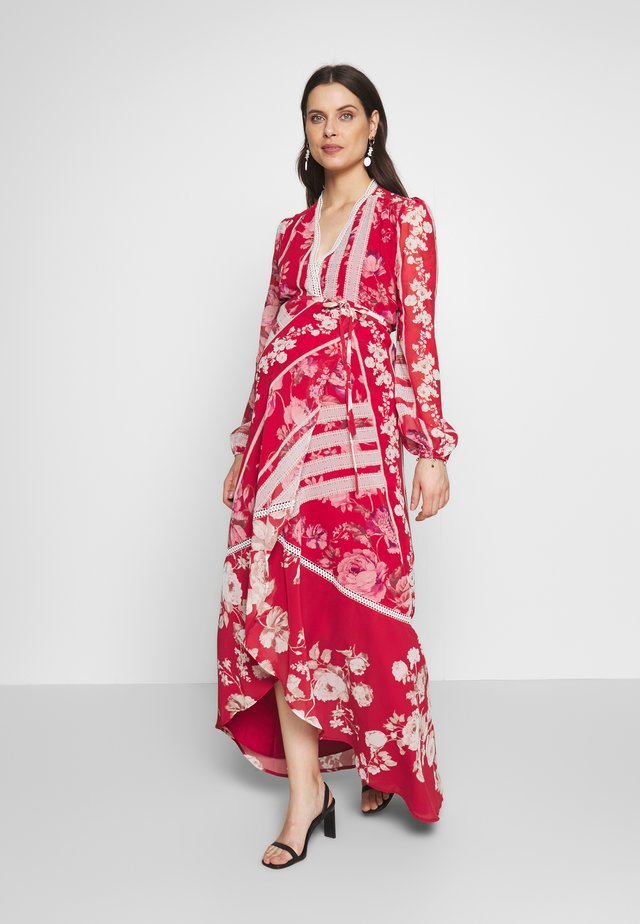 LONG SLEEVE WRAP DRESS - Maxi dress - red
