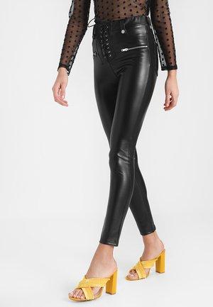 LACE UP - Spodnie materiałowe - black