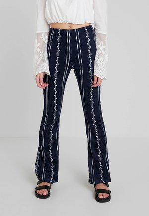 PATTERN ELASTIC WAIST PANTS - Pantaloni - navy