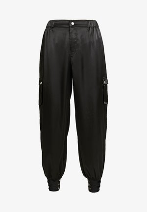 PANTS WITH CARGO POCKET DETAIL - Tygbyxor - black