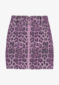 Honey Punch - LEOPARD SKIRT WITH FRONT ZIPPER - Mini skirt - purple - 3