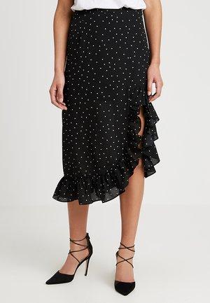 PATTERNED RUFFLE SKIRT - A-line skirt - black