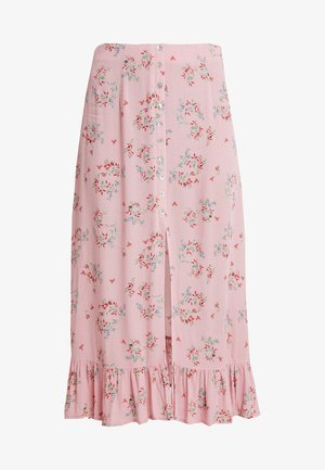 PATTERNED SKIRT WITH BUTTON DETAIL AND FRONT SLIT - Jupe longue - mauve