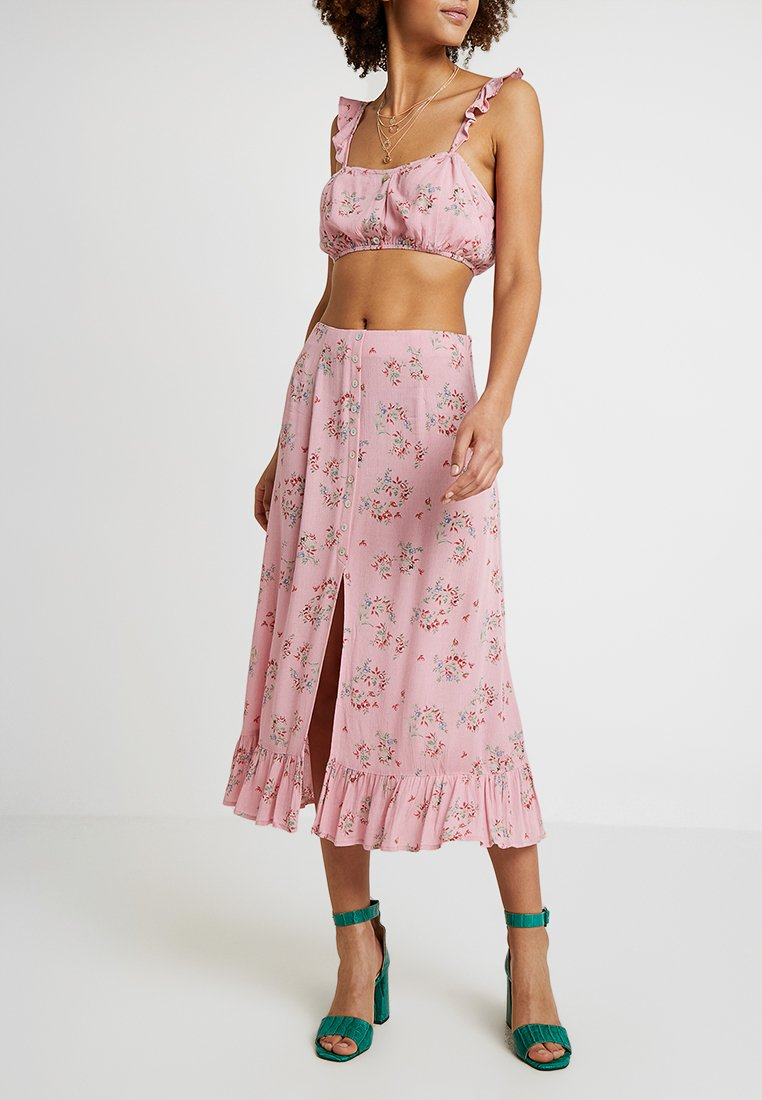 Honey Punch - PATTERNED SKIRT WITH BUTTON DETAIL AND FRONT SLIT - Maxi skirt - mauve