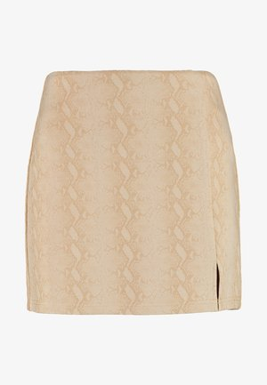 SNAKE HIGH WAISTED SKIRT WITH BACK ZIPPER - Minirok - tan