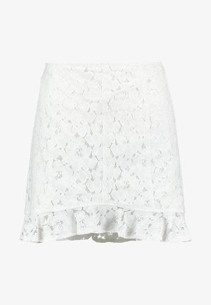 SKIRT WITH RUFFLE HEM - Mini skirt - white