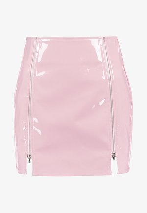 HIGH WAISTED PATENT SKIRT WITH SLITS - Minirock - lavender