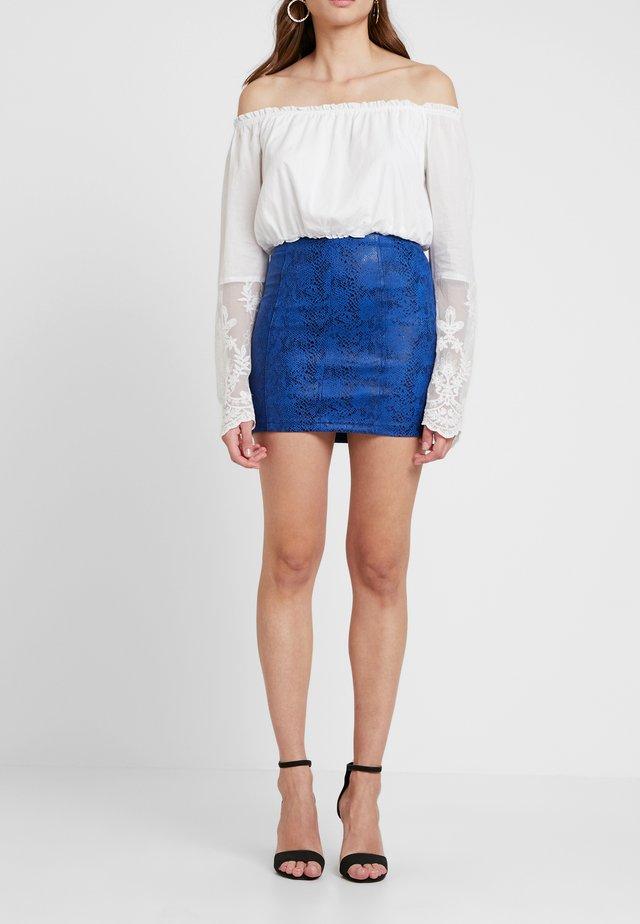 SNAKE SKIRT - Mini skirt - blue