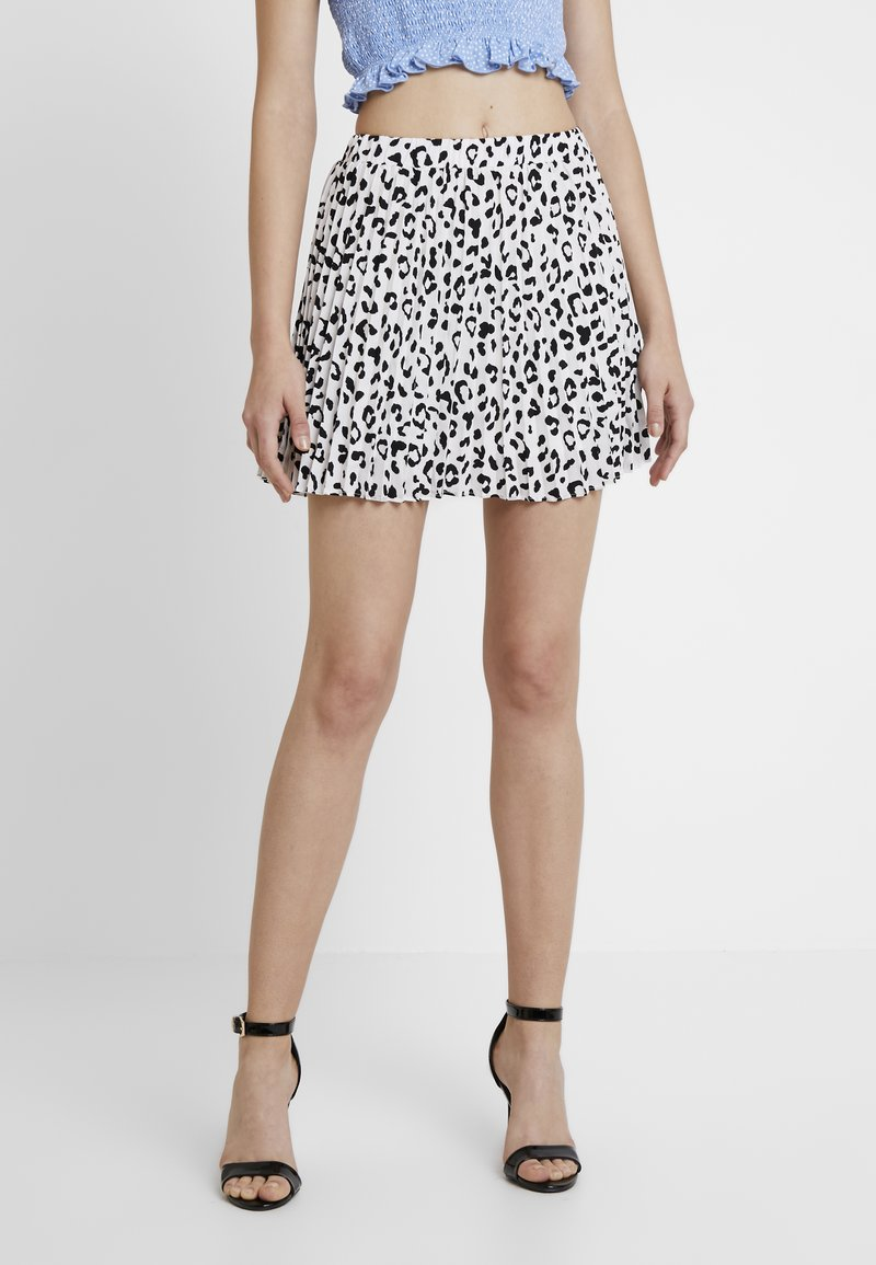 Honey Punch - PRINT PLEATED MINI SKIRT - A-Linien-Rock - white