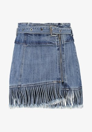 FRINGE KNOT PAPERBAG SKIRT - A-Linien-Rock - blue denim