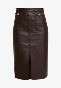 Honey Punch - FRONT SLIT PENCIL SKIRT - Pencil skirt - chocolate - 3