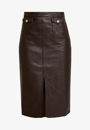 FRONT SLIT PENCIL SKIRT - Kynähame - chocolate