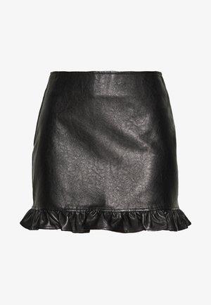 PLEATHER MINI SKIRT - Mini skirt - black