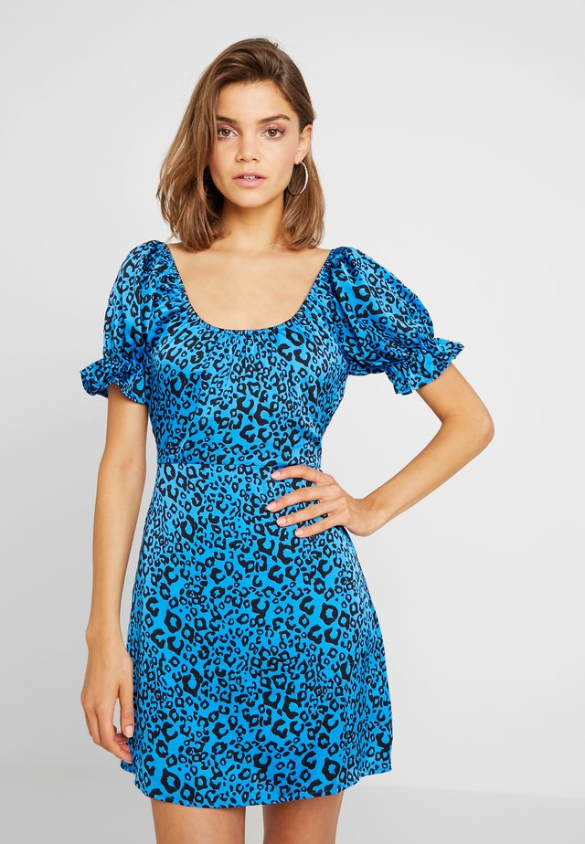 RUFFLE SLEEVE FIT FLARE DRESS - Vestido de cóctel - blue
