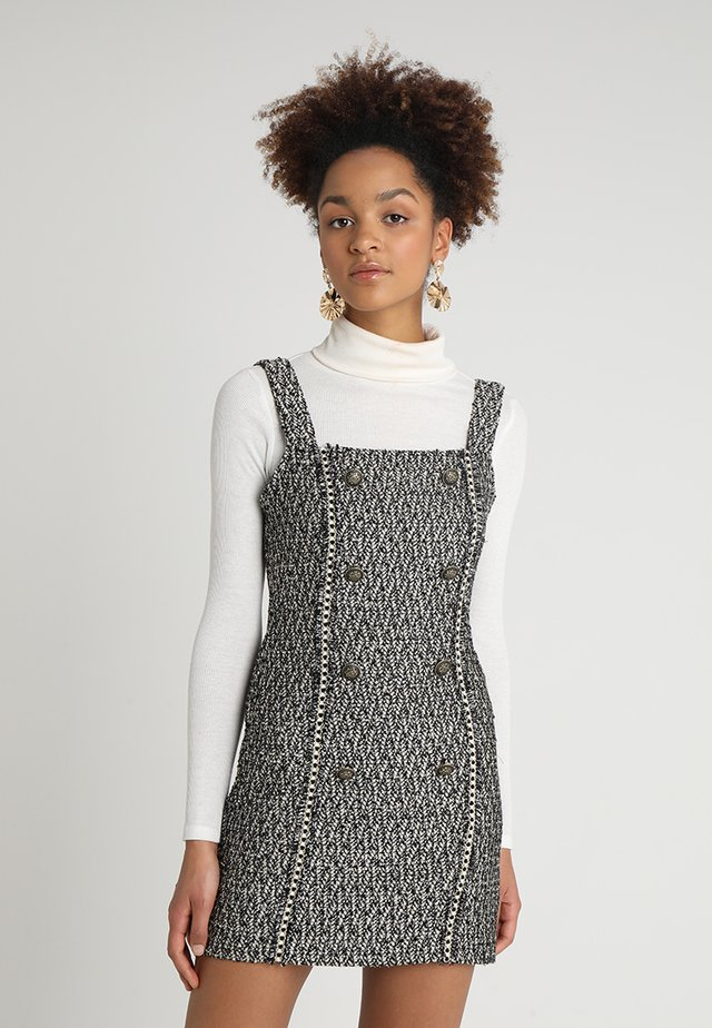 DOUBLE BREASTED BUTTON TANK DRESS - Vapaa-ajan mekko - black/white